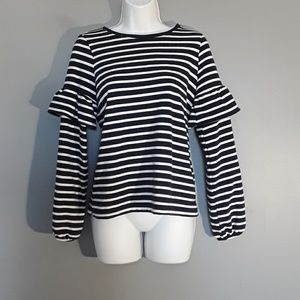 ON Navy & Ivory french terry ruffle sleeve top, XS